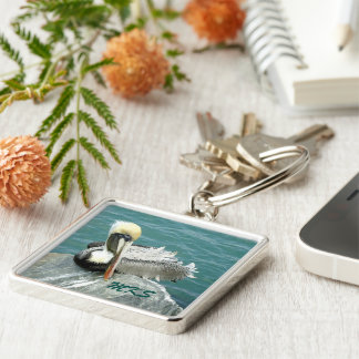 Sitting Pelican Monogrammed Silver-Colored Square Key Ring
