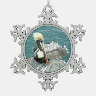 Sitting Pelican Pewter Snowflake Decoration