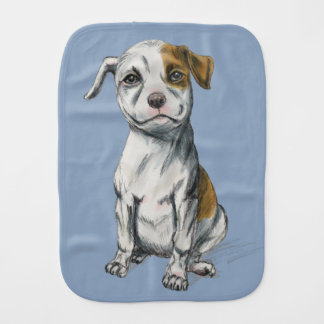 Sitting Pit Bull Puppy Drawing Baby Burp Cloths