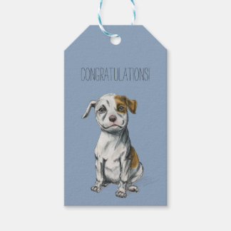 Sitting Pit Bull Puppy Drawing Gift Tags