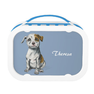 Sitting Pit Bull Puppy Drawing Lunch Box