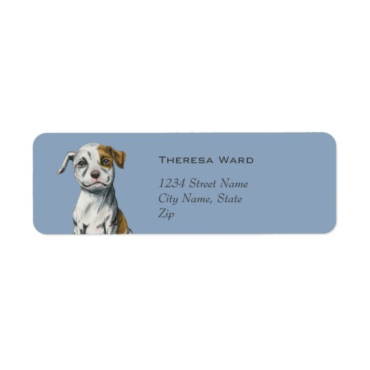 Sitting Pit Bull Puppy Drawing Return Address Label
