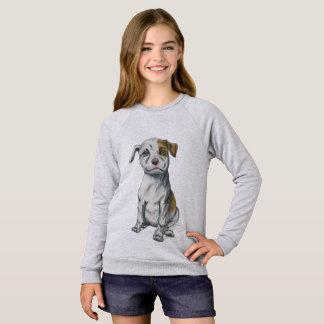 Sitting Pit Bull Puppy Drawing Sweatshirt