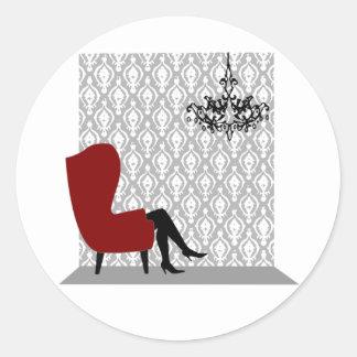 Sitting Pretty Round Sticker