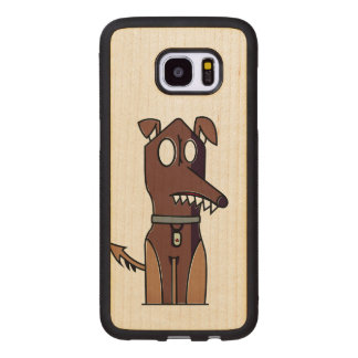 Sitting Puppy Illustration Wood Samsung Galaxy S7 Edge Case