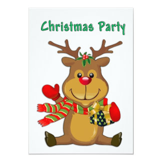 Sitting Reindeer wPackage Christmas Party Invitation
