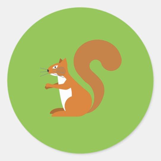 Sitting Squirrel Classic Round Sticker