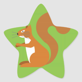 Sitting Squirrel Star Sticker