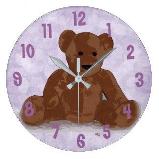 Sitting Teddy Bear (purple background) Large Clock