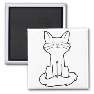 Sitting White Cat Square Magnet