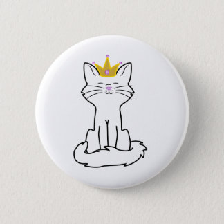 Sitting White Cat with Gold Crown 6 Cm Round Badge