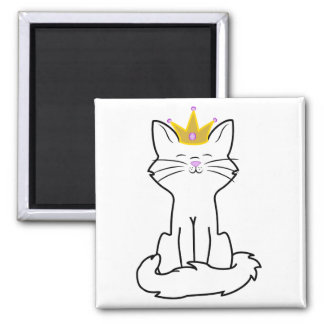 Sitting White Cat with Gold Crown Square Magnet