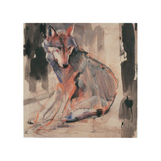 Sitting Wolf 2000 Wood Print