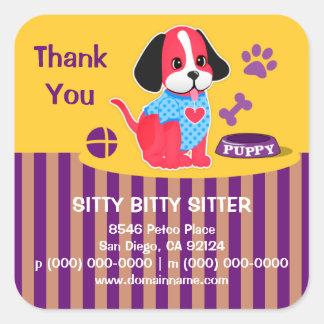 Sitty Bitty Sitter Pet Sitting Thank You Sticker