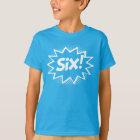 SIX! 6th Birthday Gift Superhero Logo T-Shirt