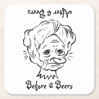 Six Beers Before and After Square Paper Coaster