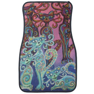 six blue and pink cats on a car mat