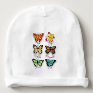 Six Colorful Artsy Butterflies with Number Words Baby Beanie