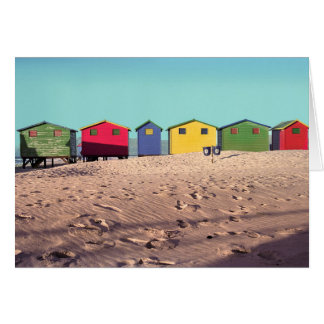 Six Colorful Beach Hut | Cape Town, South Africa Card