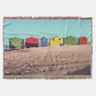 Six Colorful Beach Hut | Cape Town, South Africa Throw Blanket