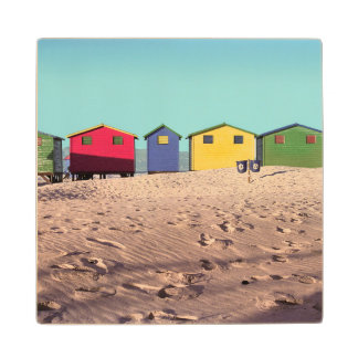Six Colorful Beach Hut | Cape Town, South Africa Wood Coaster