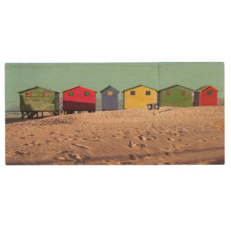 Six Colorful Beach Hut | Cape Town, South Africa Wood USB 2.0 Flash Drive