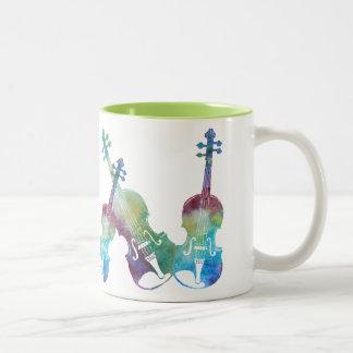 Six Colorwash Violins Two-Tone Coffee Mug