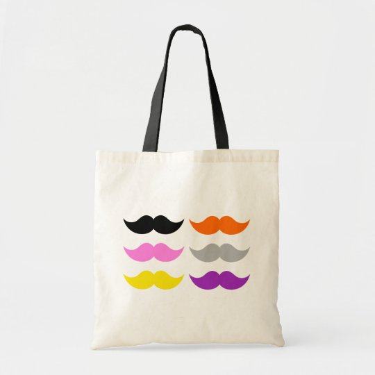 Six Coloured Moustaches Moustaches Tote Bag