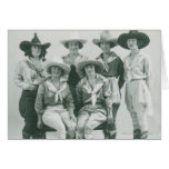 Six cowgirls in hats and sashes. greeting cards