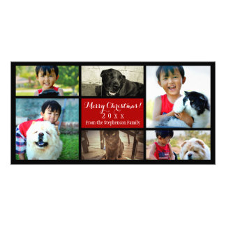 Six Family Pics Merry Christmas Photo Collage Picture Card
