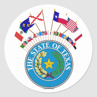 Six Flags of Texas with other Historic Flags Sticker