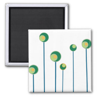 Six Funky Green Flowers Square Magnet