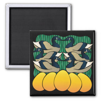 Six Geese Laying Square Magnet