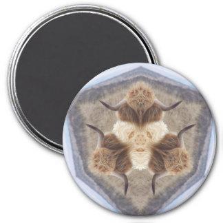 Six happy horns 7.5 cm round magnet