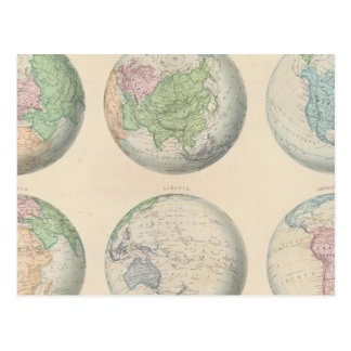 Six hemispheric maps of the world postcard