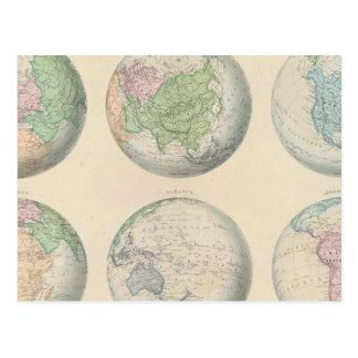 Six hemispheric maps of the world postcard