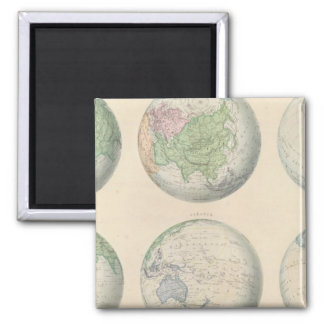 Six hemispheric maps of the world square magnet