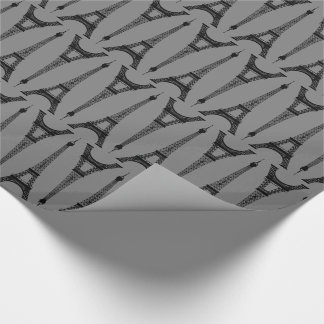 Six Inch Black Eiffel Towers on Medium Gray Wrapping Paper