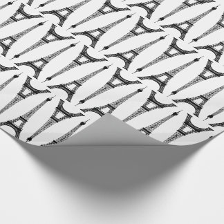 Six Inch Black Eiffel Towers on White Wrapping Paper