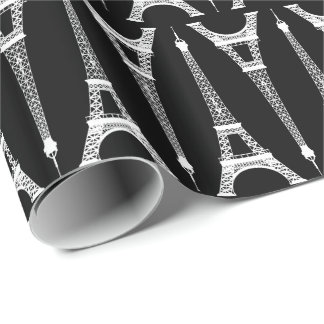 Six Inch White Eiffel Towers on Black Wrapping Paper