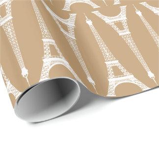 Six Inch White Eiffel Towers on Camel Brown Wrapping Paper