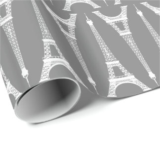 Six Inch White Eiffel Towers on Medium Gray Wrapping Paper