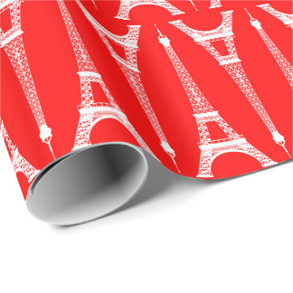 Six Inch White Eiffel Towers on Red Wrapping Paper