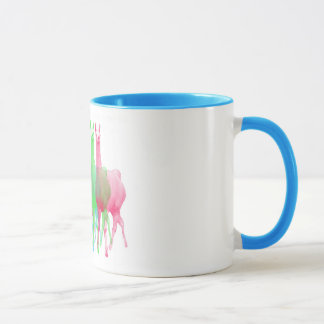six lamas in six llama colors mug