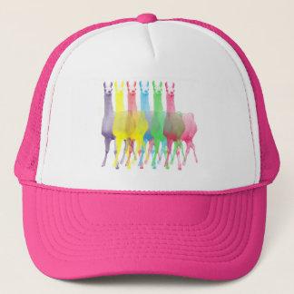 six lamas in six llama colors trucker hat