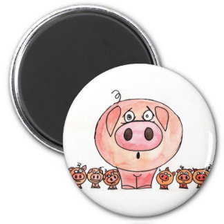Six little pigs 6 cm round magnet