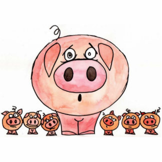 Six Little Pigs Standing Photo Sculpture