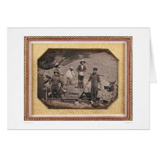 Six miners with rocker, wheel barrows... (40046) card