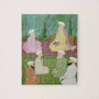 Six Muslim holy men seated on a garden terrace, fr Jigsaw Puzzle