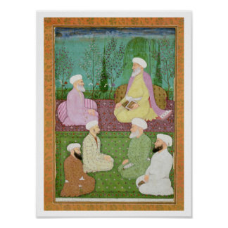 Six Muslim holy men seated on a garden terrace, fr Poster